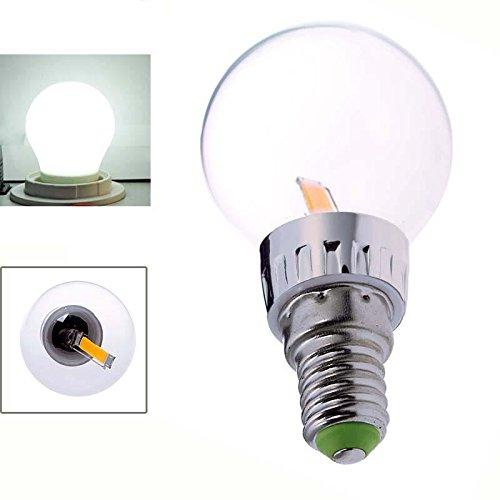 Keyzone E14 1.6W Cob Led Filament Transparent Bulb Globe Light Lamp Pure White 6500K