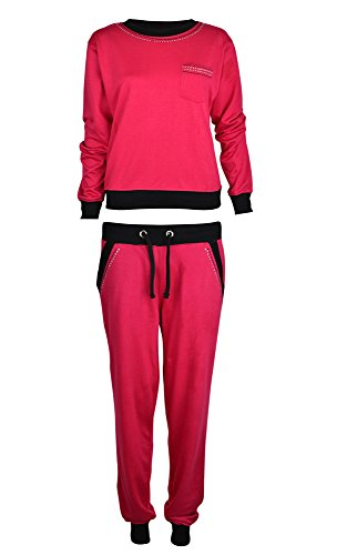 Womens 2 Piece Diamante Beaded Tracksuit 4 6 8 10