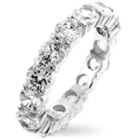 ETERNITY RING - Sterling Silver 5mm Wide CZ Eternity Band
