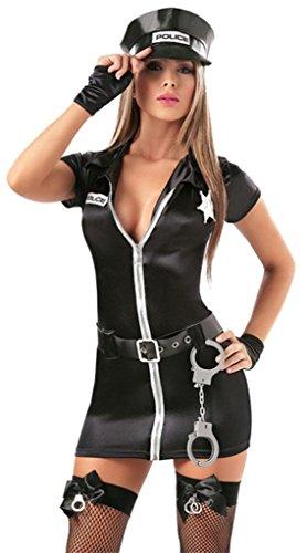 Aimerfeel nero del vestito operato di polizia con le manette, cappello e guanti dimensioni da 44 a 46, busto: 92 centimetri, vita: 88 centimetri, lunghezza: 77 centimetri,