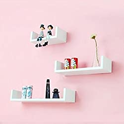 Onlineshoppee Wooden Handicraft Wall Decor Designer Wall Shelf Pack of 3 Color-White