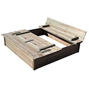 BENTLEY KIDS WOODEN OUTDOOR SQUARE SAND PIT SAND BOX WITH BENCH AND LID