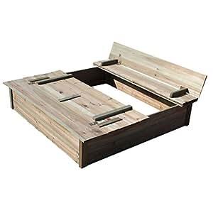 Bac à sable pour enfants - bois - avec banc et couvercle intégrés