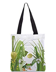 Snoogg Abstract Illustration With Lots Of Beautiful Flowers Designer Poly Canvas Tote Bag
