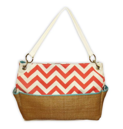 Caught Ya Lookin' Chevron Chic Diaper Bag, Coral and Straw