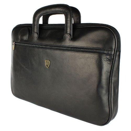 Leather Briefcase By Tumble & Hide - Black Folio/Laptop Case