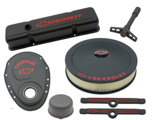 Proform 141-758 Black Crinkle Engine Dress-Up Kit with Red Chevrolet/Bowtie Logo for Small Block Chevy (Engine Dress Up Kits compare prices)