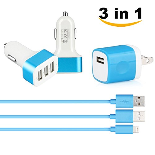 SEGMOI 3in1 10Ft/3M iPhone Lightning 8Pin Charger Cable Data Sync Cord + USB Wall Adapter + 3Ports 3 Port Car Charger for iPhone 5 5s 5C SE 6 6S 6Plus -Blue (3in1 Iphone Charger compare prices)