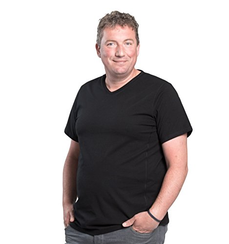 Maglietta per uomo scollo V, pacco da 2, T-Shirt collo V, 1XL-8XL, 2 pack T-shirt appositamente progettato per gli uomini oversize | Mezzo 112-178 cm (4XL-B, Nero)