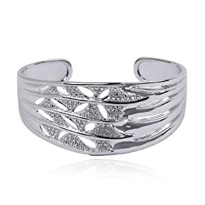 Platinum Plated Sterling Silver Textured Diamond-Accent Wide Cuff Bracelet by Amazon Curated Collection