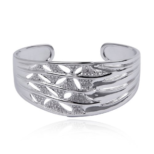 Platinum Plated Sterling Silver Textured Diamond-Accent
