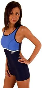 gWINNER ® Wettkampfanzug Schwimmanzug Badeanzug - MARIA - MADE IN EU (Dunkelblau/Blau, 50)