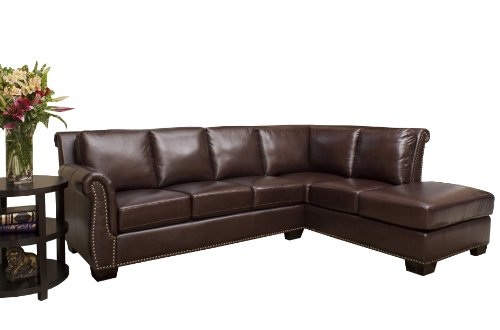 Astonishing Affordable Abbyson Living Pasadena Italian Leather Sectional Bralicious Painted Fabric Chair Ideas Braliciousco