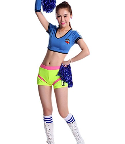 Soccer Cheerleader Costume/ Cheerleading Uniform/Cheerleader Outfit Size L BLUE