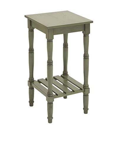 Square Accent Wood Table, Distressed Green