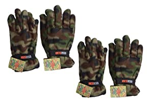 Lot of 2 Pairs Camouflage Polar Fleece Gloves Winter Camo Outdoor Hunting