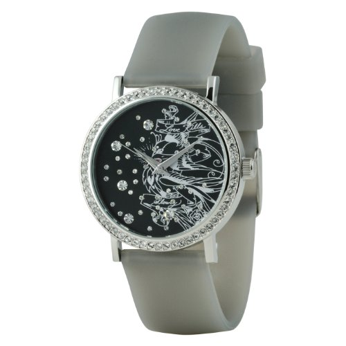 Ed Hardy Women's Lovebirds Watch Black Crystal Dial with Black Band