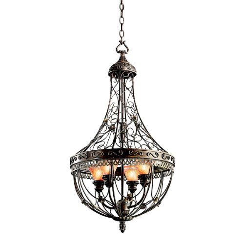 Kichler Lighting 42230TRZ Marchesa 4-Light Foyer Pendant, Terrene Bronze with Piastra Glass