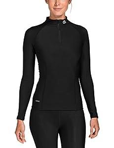 Skins A200 Thermal Long Sleeve MckNeck w zip Women's Compression Top - Black/Black, XS