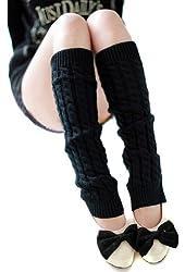 Smartele Unique Style Women Ladies Knee High Knit Stripe Leg Warmers Sock Legging Socks Banket Winter Knit Crochet Warmer Legging, five colors available (Black)