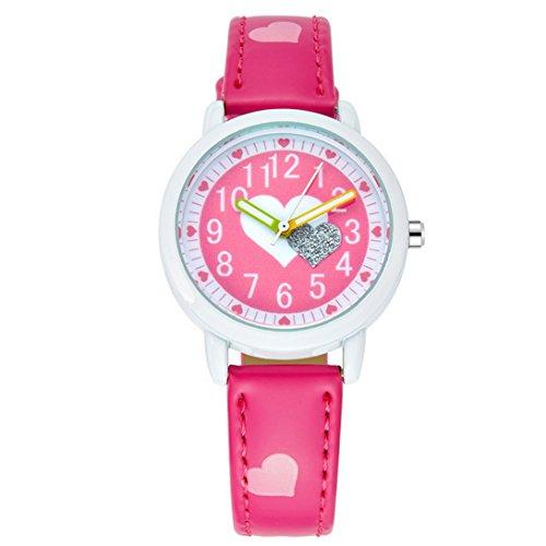 FEOYA - Niñas Reloj de Pulsera Cuarzo Analógico Formado Redondo Dibujo de Corazón para Niñas Chicas de Moda - Rosa Osuro