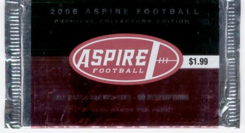 2006 Sage Aspire Football Pack (3 Cards/Pack) - GREAT DEAL! 3 Rookies in Every Pack! NFL Trading Cards (Look for Random Autograph Cards)