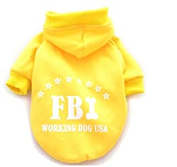 Demarkt Fashion Yellow FBI Dog Cat Puppy Fleece Hoodie Costume Clothes Pet Apparel Superdog Dress Up Pet Supplies Size Medium