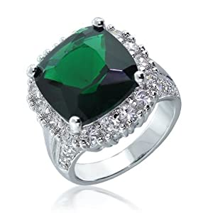Bling Jewelry Vintage Style CZ Emerald Color Cocktail Ring