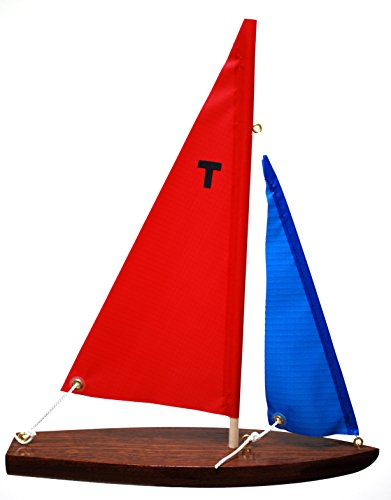 T10 Sloop Finished Floater (Red/blue) - Floating Model Sailboat, Toy Sailboats that Sail, Toy Sailboats that Float, Toy Sailboat Wood, Toy Sailboat Wooden