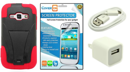 Coveron® Samsung Galaxy Ring / Prevail 2 Kickstand Hard + Soft Dual Layer Hybrid Case Bundle With Clear Anti-Glare Lcd Screen Protector & White Micro Usb Data Cable & White Wall Charger Adapter - Black Plastic Red Silicone