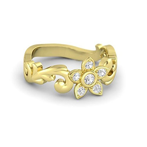 Vorra Fashion 14K Gold Plated 925 Sterling Silver Beautiful Flower Shape Promise Ring in All Size Available 5 6 7 8 9 10 11 12 (multicolor)