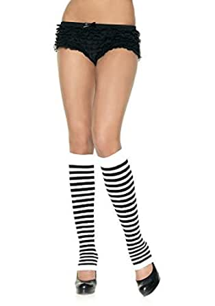 Leg Avenue Opaque Stripe Leg Warmer, One Size, Black/Pink