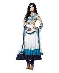 Khodiyar Creation Women's Georgette Unstitched Dress Material (Blue)