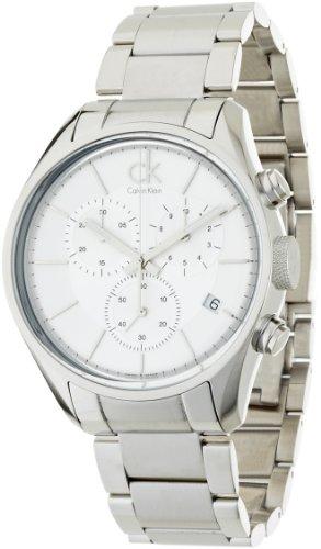 Calvin Klein K2H27126 - Reloj cronógrafo de cuarzo para hombre, correa de acero inoxidable color plateado