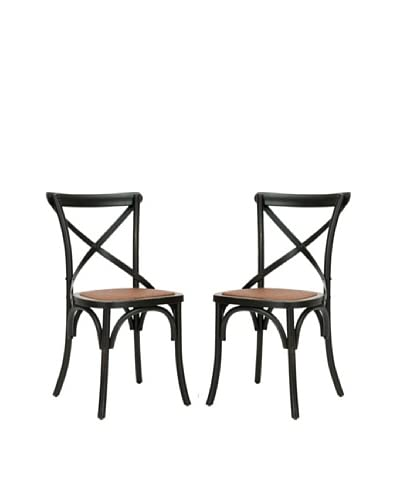 Safavieh Set of 2 Franklin X Back Chairs, Hickory
