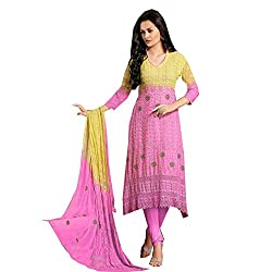 Dhruta Creation Pink & yallow colors cotton febric semi stitched Dress materials for women