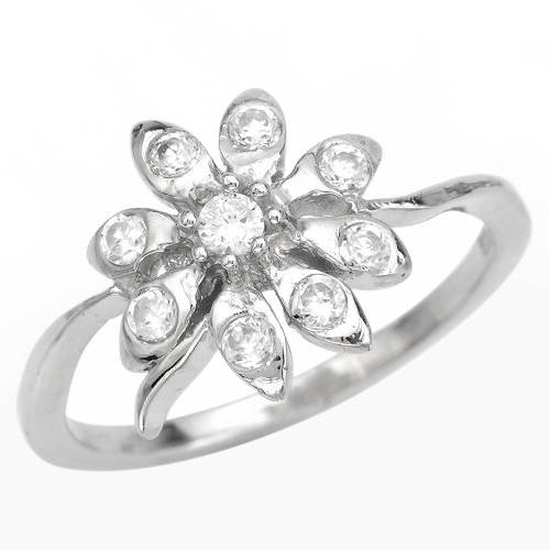 Ring With 0.65ctw Cubic zirconia Crafted in 925 Sterling silver (Size 5.5)