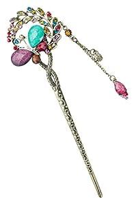 niceeshop(TM) Multicolore Papillon et Feuilles de Saule épingle à Cheveux avec Un Pendentif