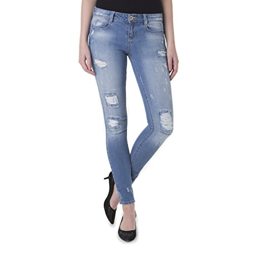 Jordache Juniors Distressed Skinny Jeans - Low Rise, Women's Fitted Ripped Denim (Maroon Colored Nail Polish compare prices)