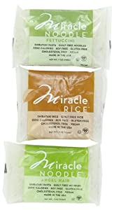 Miracle Noodle Shirataki Pasta, 6 bag Variety Pack, 44 ounces (Includes: 2 Shirataki Angel Hair, 2 Shirataki Rice and 2 Shirataki Fettuccini)