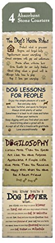 Set of 4 Stone Coasters ~ Dog Love Rescue Decor ~ Perfect Dog Lovers Gift ~ Absorbent
