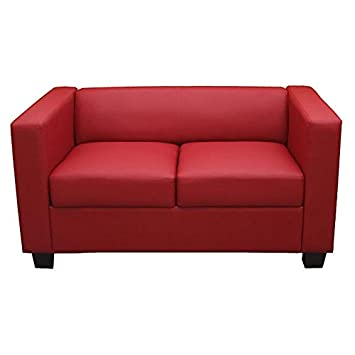 Serie Lille M65 divano sofa 2 posti 70x75x137cm ~ rosso ecopelle