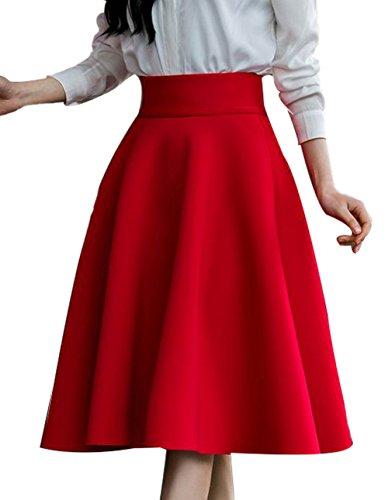 FACE N FACE Women's High Waist A Line Pleated Full Skater Bubble Skirt X-Large Red (Full Skater Skirt compare prices)