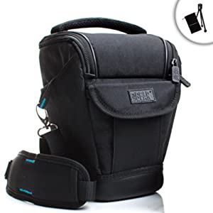 USA Gear Weather-Resistant Digital SLR Holster Camera Case Bag for Nikon D610 / D7100 / D5200 / D5100 / D3100 / D3000 / D800E & More DSLR Cameras - Includes Accessory Bag & Mini Tripod