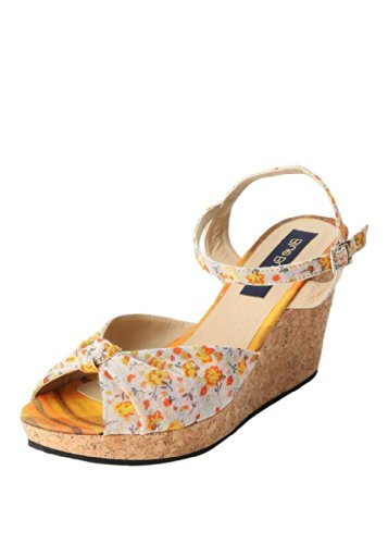 Blue Button Blue Button Women's Yellow White Fabric Wedges (Multicolor)