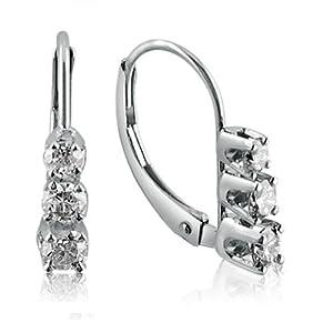 14K White Gold Three-Stone Diamond Leverback Earrings 1/2cttw