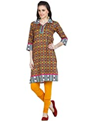 Zovi Women's Cotton Multicolored Printed Kurti With Collar (10705223001)