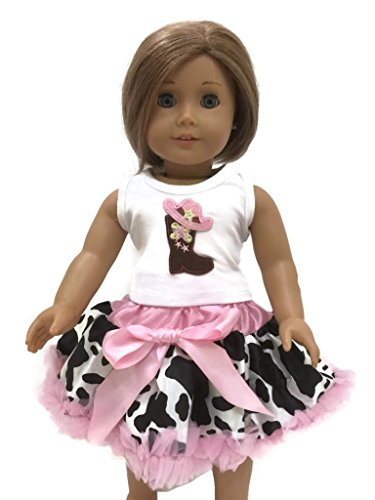 "Glamerup: Dakota Cowgirl Inspired 2-Pc Set - Top With Tutu Skirt Pettiskirt For Most 18"" Dolls"