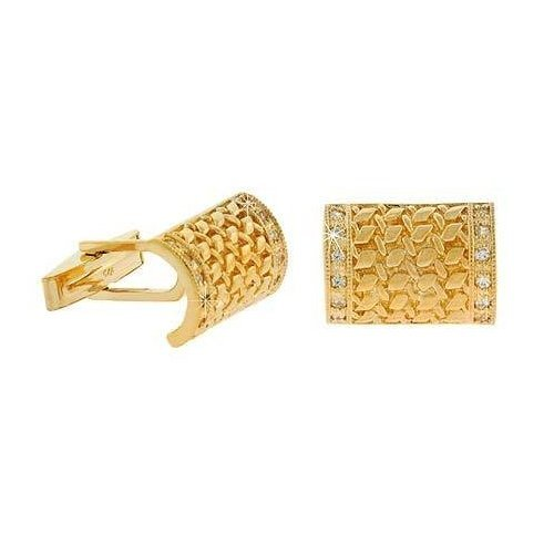 Vermeil (24k Gold over Sterling Silver) Cubic Zirconia Curved Wheat Rectangle Cuff Links Cufflink