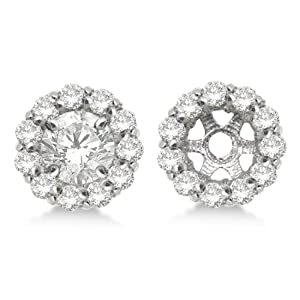 Round Cut Diamond Earring Jackets 14k White Gold (0.35ct)